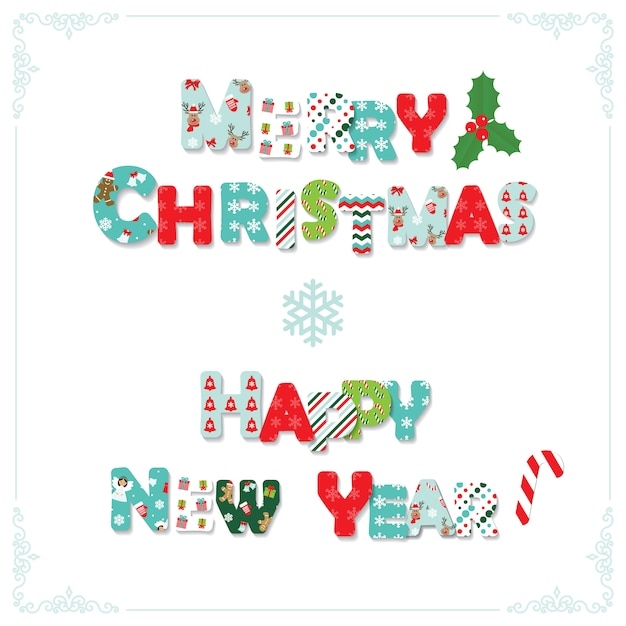 Feliz Navidad Y Feliz Año Nuevo Cartas Descargar Vectores Premium