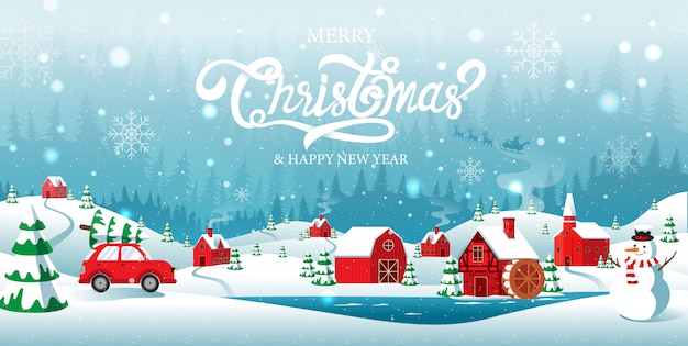 Feliz navidad y feliz año nuevo ciudad natal en el fondo de invierno de forrest Vector Premium