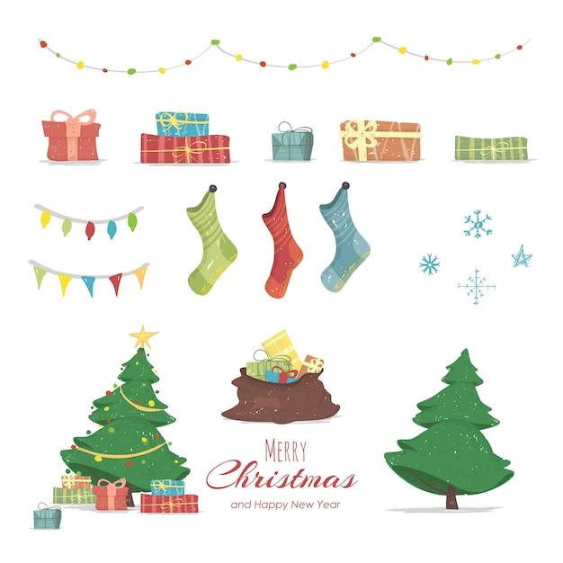 Feliz navidad y feliz año nuevo conjunto de elementos Vector Premium