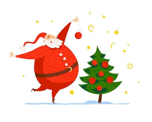 Feliz navidad, feliz año nuevo enhorabuena. . estilo de dibujos animados. bueno para postal de navidad, tarjeta, publicidad, flayer,. Vector Premium