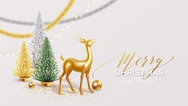 Feliz navidad y feliz año nuevo fondo con decoraciones navideñas realistas. Vector Premium
