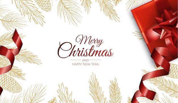 Feliz navidad y feliz año nuevo hojas doradas tarjeta de felicitación Vector Premium