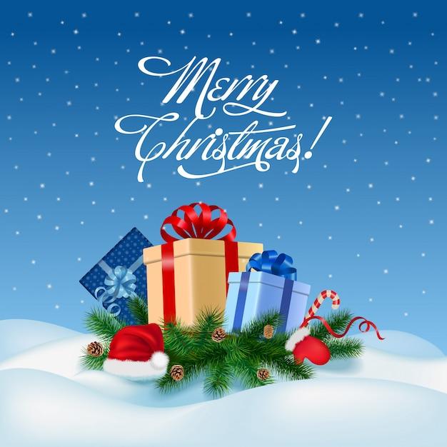 Feliz navidad y feliz año nuevo tarjeta de felicitación ilustración vectorial. vector gratuito