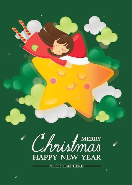 Feliz navidad y feliz año nuevo tarjeta de felicitación. niña abrazando en estrella sonriente Vector Premium