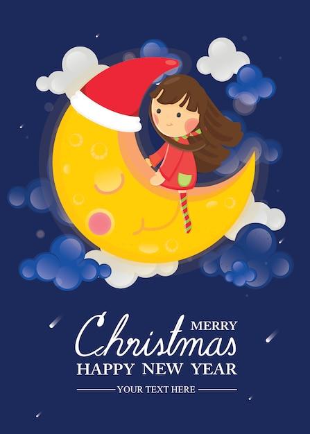 Feliz navidad y feliz año nuevo tarjeta de felicitación. niña sentada en luna sonriente Vector Premium