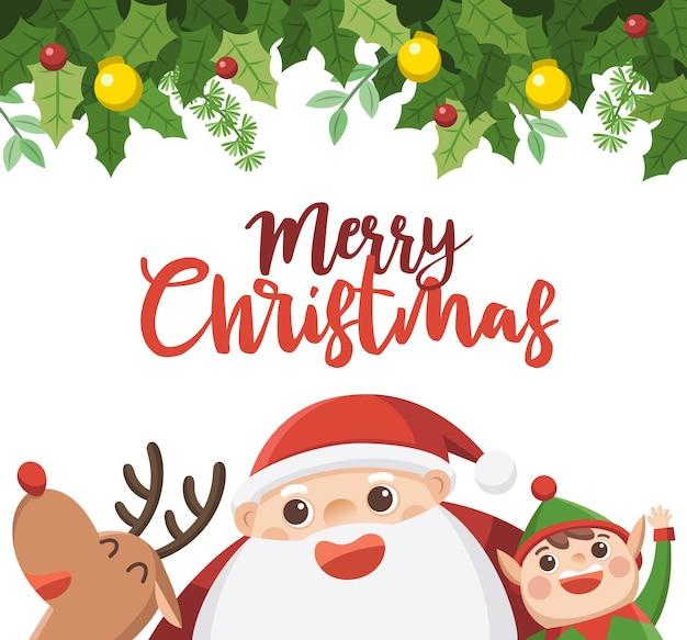 Feliz navidad y feliz año nuevo tarjeta de felicitación. santa con elfos y renos. Vector Premium