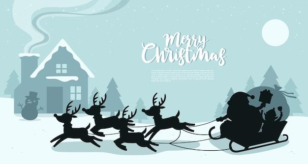 Feliz navidad y feliz año nuevo tarjeta de felicitación. Vector Premium