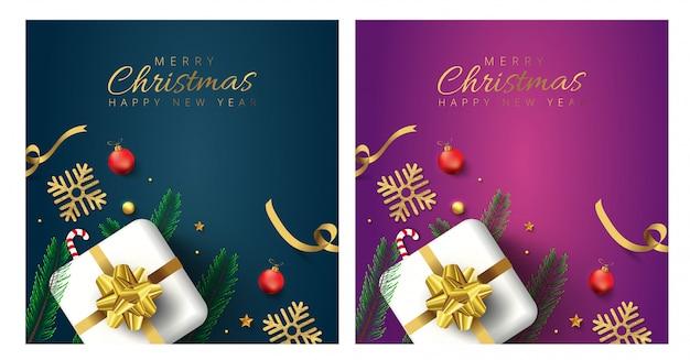 Feliz navidad y feliz año nuevo tarjetas de felicitación Vector Premium