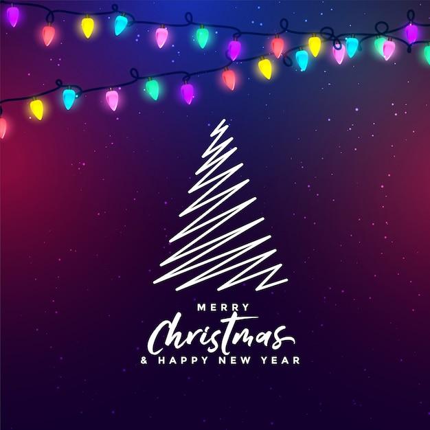 Feliz navidad festival luces de fondo con árbol vector gratuito