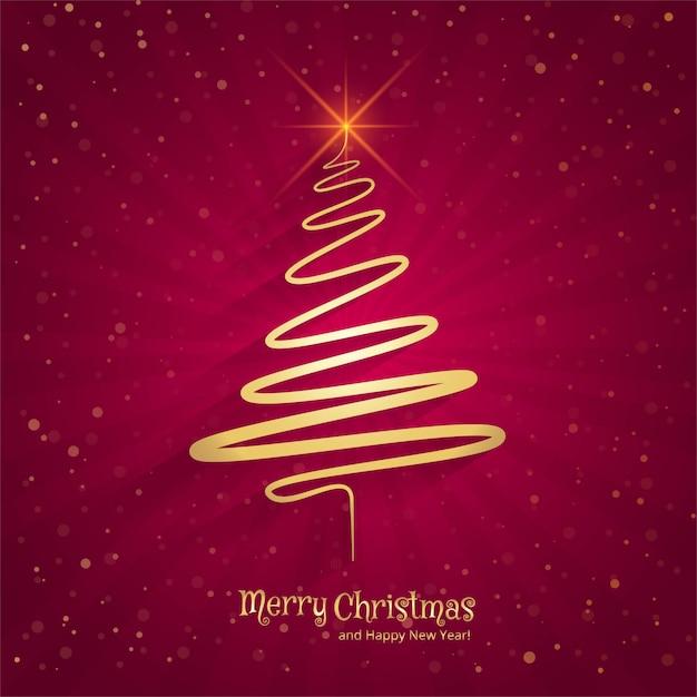 Feliz navidad fondo de árbol de mínima línea vector gratuito
