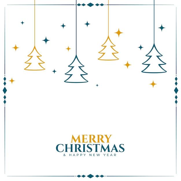 Feliz navidad fondo blanco con decoración de árbol vector gratuito
