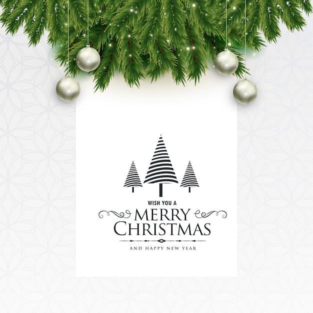 Feliz navidad hermoso saludo con hojas y bolas | Descargar Vectores ...