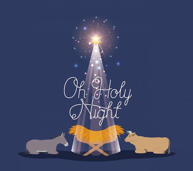 Fotos De Navidad Con Jesus.Feliz Navidad Con Jesus Bebe Y Animales Descargar Vectores