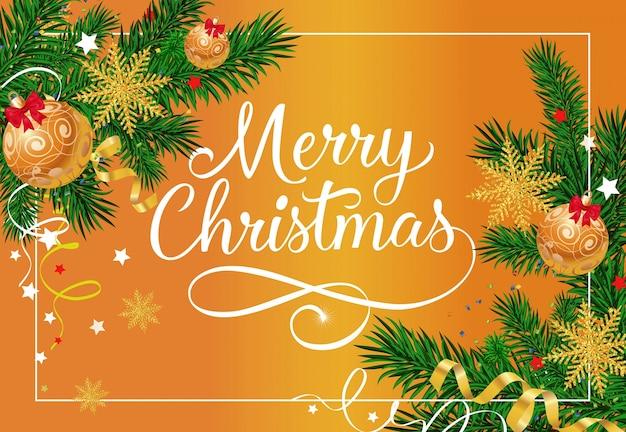 Feliz navidad letras con adornos vector gratuito