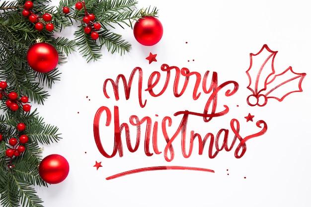 Feliz navidad letras en navidad photo vector gratuito