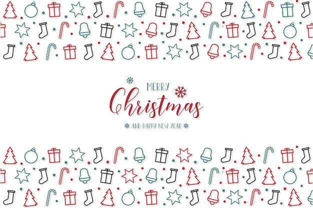 Feliz navidad moderna con iconos de saludo vector gratuito
