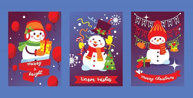 Feliz navidad muñeco de nieve tarjeta de felicitación de año nuevo con santa snow-character personaje árbol de navidad y regalos ilustración de fondo conjunto de postal fondo de diseño de cartel de celebración de vacaciones de invierno Vector Premium