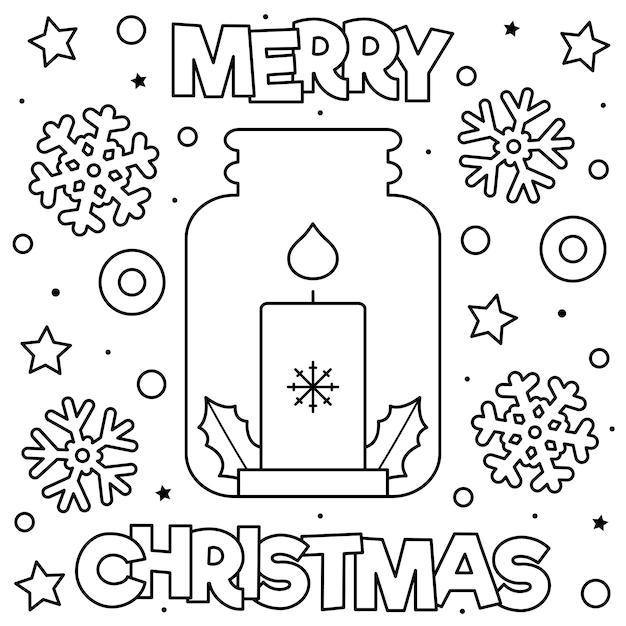 Feliz Navidad Página Para Colorear Ilustración De Vector Blanco Y