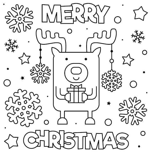 feliz navidad pagina para colorear ilustracion de vector blanco y negro vector premium https www freepik es profile preagreement getstarted 3519867