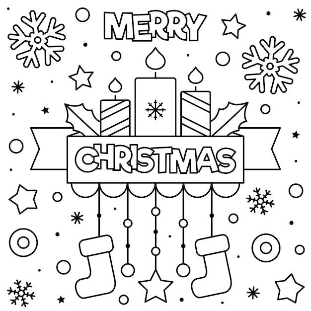 Feliz Navidad Página Para Colorear Vector Premium