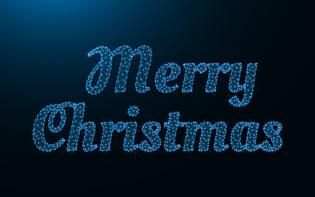 Feliz navidad palabras malla metálica poligonal Vector Premium
