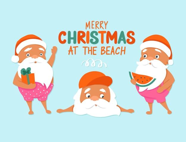 Feliz navidad en la playa. personajes de verano santa. navidad tropical y próspero año nuevo Vector Premium