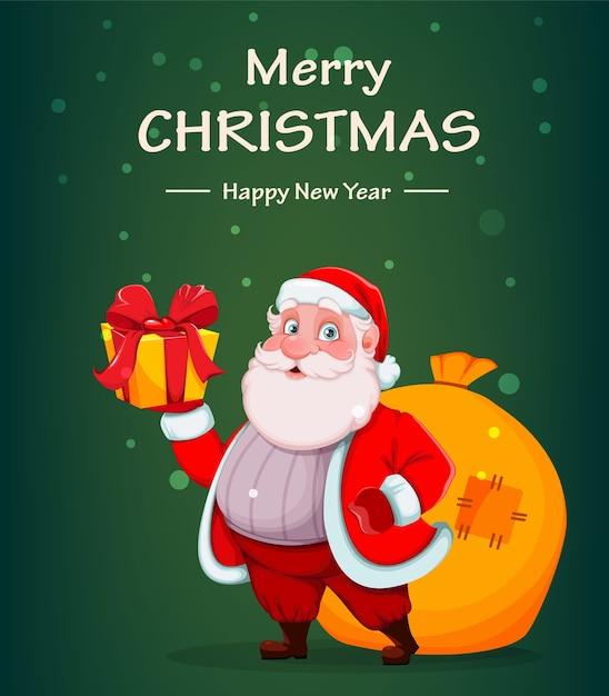Feliz navidad y próspero año nuevo. alegre, santa claus Vector Premium