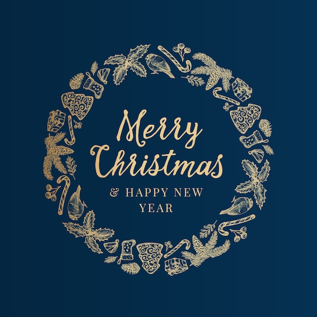 Feliz navidad y próspero año nuevo boceto dibujado a mano vector gratuito
