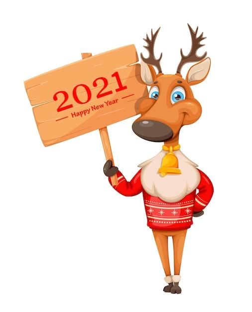 Feliz navidad y próspero año nuevo. ciervo lindo Vector Premium