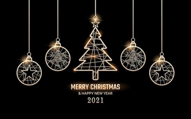 Feliz navidad y próspero año nuevo en colgar etiqueta dorada brillante Vector Premium