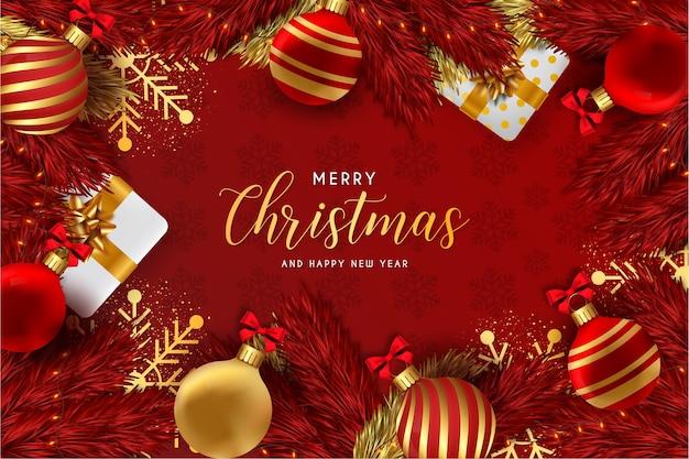 Feliz navidad y próspero año nuevo fondo rojo con elementos navideños realistas vector gratuito