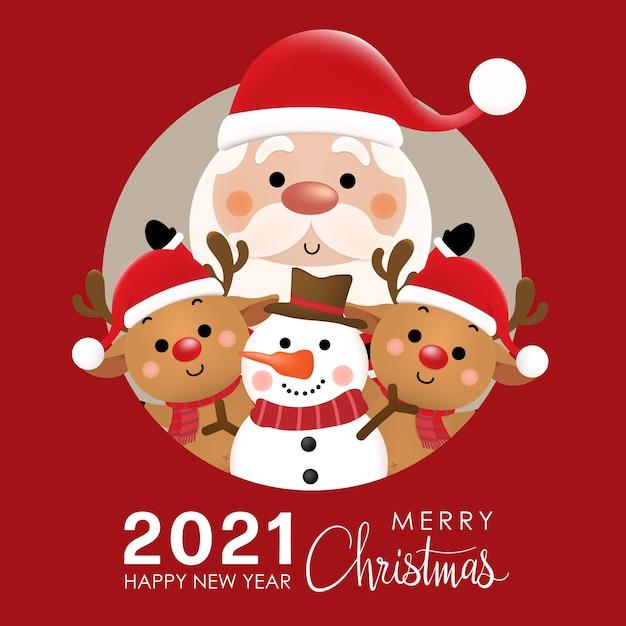 Feliz navidad y próspero año nuevo con lindo papá noel, renos y muñeco de nieve. Vector Premium