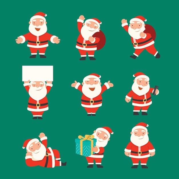 Feliz navidad y próspero año nuevo con santa claus, juego de caracteres de santa. vector gratuito