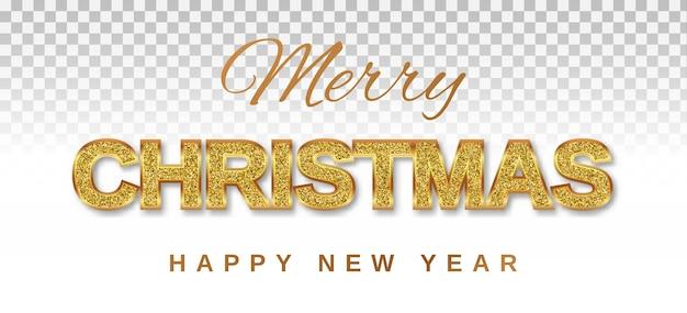 Feliz navidad y próspero año nuevo texto dorado con brillo brillante sobre un fondo transparente en un marco dorado. Vector Premium
