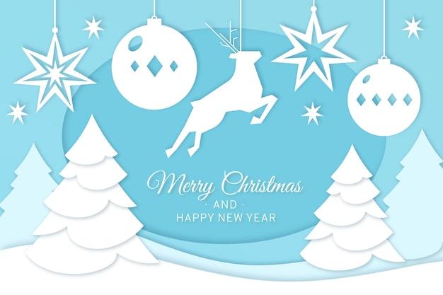 Feliz navidad renos y árboles de navidad en papel estilo vector gratuito