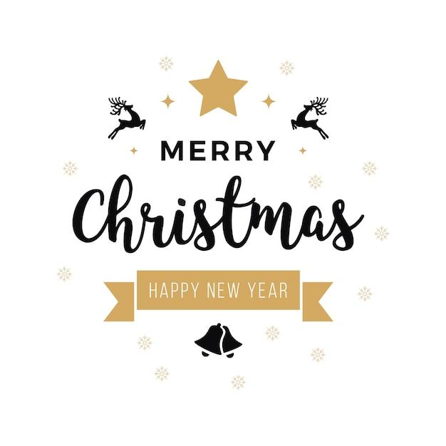 Feliz navidad saludo texto adornos fondo blanco Vector Premium