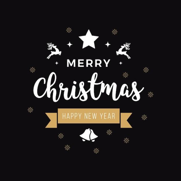 Feliz navidad saludo texto adornos oro negro fondo Vector Premium
