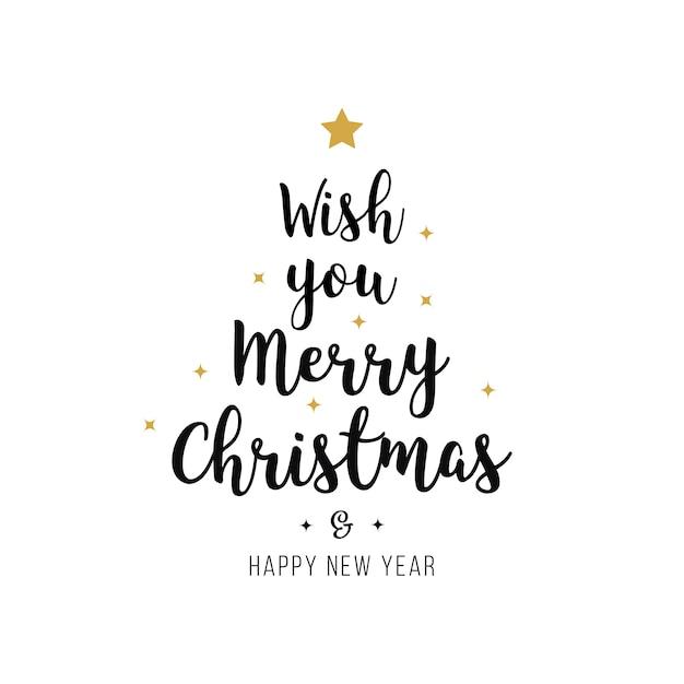 Feliz navidad saludo texto oro negro aislado fondo Vector Premium