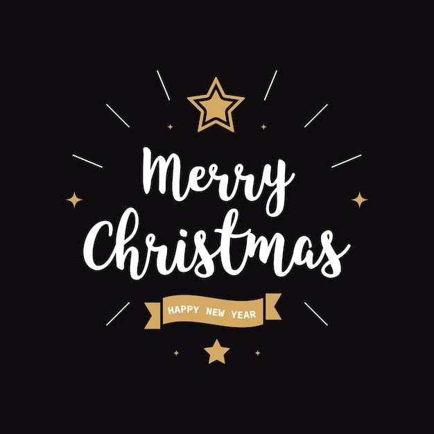 Feliz navidad saludo texto oro negro fondo Vector Premium