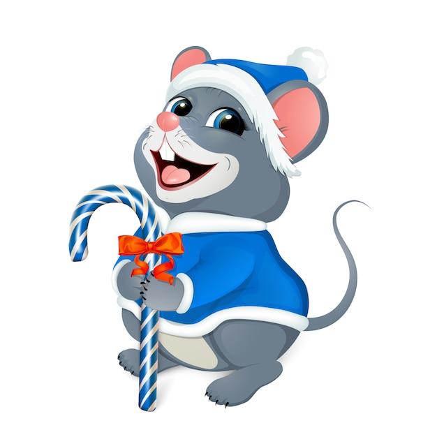 Feliz navidad saludos. feliz ratón con un traje azul de santa. Vector Premium