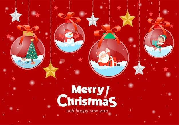 Feliz navidad con santa claus regalos plantilla tarjeta de felicitación, bola de cristal colgando. vector gratuito