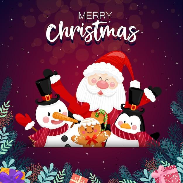 Feliz navidad con santa claus y varias cajas de regalo en la nieve con casa y luna como. vector gratuito