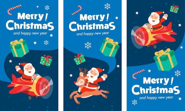 Feliz navidad con santa plane banner y santa claus montando un reno. vector gratuito