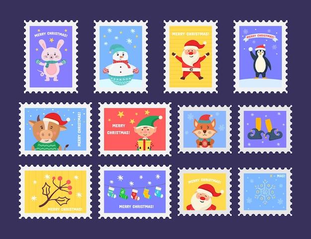 Feliz navidad sello lindo con símbolos de vacaciones y elementos de decoración. colección de sellos postales con símbolos de decoración navideña. Vector Premium