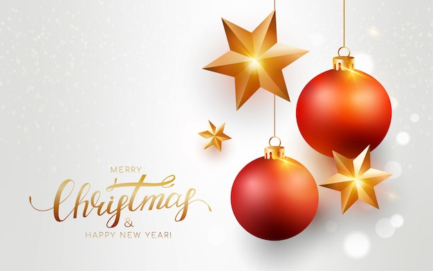 Feliz navidad tarjeta de felicitación blanca con bolas rojas, estrella de oro, bokeh. Vector Premium