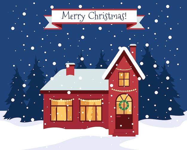 Feliz navidad tarjeta de felicitación o banner. naturaleza de invierno y casa en el bosque. hogar con adornos navideños. ilustración. Vector Premium