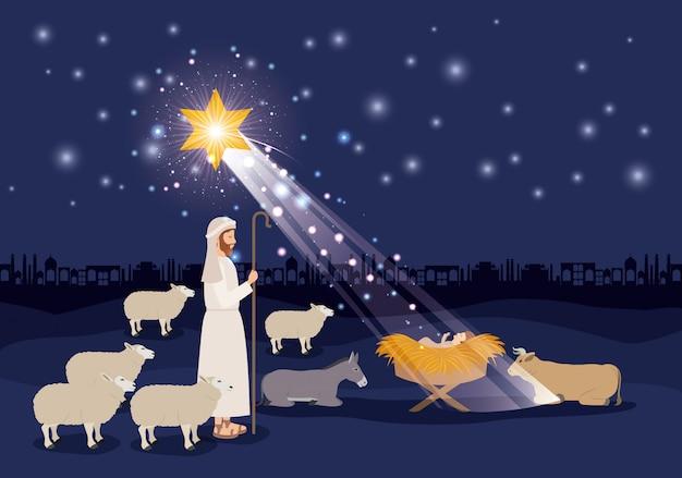 Fotos De Navidad Con Jesus.Feliz Navidad Tarjeta Con Jesus Baby Y Sheeper Descargar