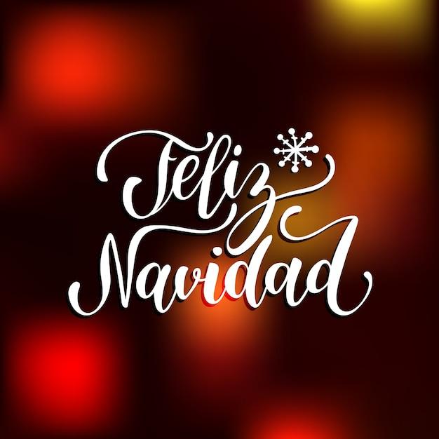 Feliz navidad, traducido feliz navidad letras con copos de nieve de año nuevo. tipografía de felices fiestas para el concepto de plantilla o cartel de tarjeta de felicitación. Vector Premium