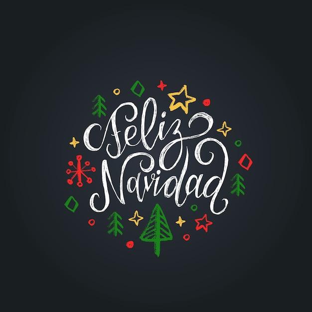 Feliz navidad traducido de letras españolas feliz navidad sobre fondo negro. Vector Premium