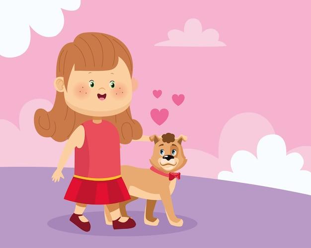 Feliz niña con lindo perro Vector Premium